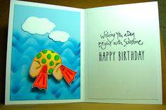 Art Impressions Rubber Stamps: Beach Booty Set (Sku#4242) Ai Shake Your Booty! handmade beach birthday card.