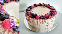 Cake with ruby chocolate, raspberries, blueberries and blackberries and edible flowers Blackberries, Edible Flowers, Blueberry, Birthday Cake, Cupcakes, Chocolate, Desserts, Food, Tailgate Desserts