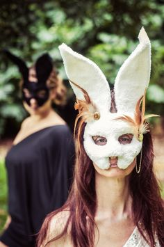 Follow the White Rabbit Masquerade Mask II/12- Handmade with new and  Recycled Materials. $65.00, via Etsy.