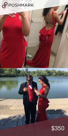 """Red Prom Dress Only worn once, originally a size 10 but I liked it so much I got it tailored down to a size 2. Has some train to it, I'm 5'5"""" and wore flat sandals in this. Too pretty to just sit in my closet Dresses Prom"""