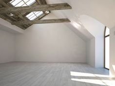 Empty white room with wooden beam and large windows photo Royalty free images stock Empty Spaces, Empty Room, Casa Anime, Studio Layout, Foto Jimin, Interior Photo, Large Windows, Office Interiors, Modern Bathroom