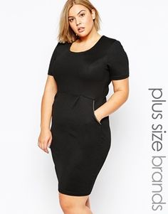 c432652c8480 Goddiva Plus Size Dress With Zip Detail Cheap Plus Size Clothing