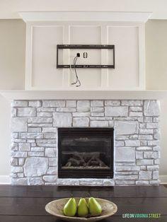 White Washed Stone Fireplace