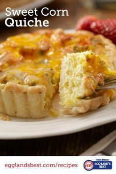 Eggland's Best Sweet Corn Quiche is great for dinner! | Savory, Cheesy | Comfort Food Lightened up | Only 227 Calories | Great recipe from @Eggland's Best   .client