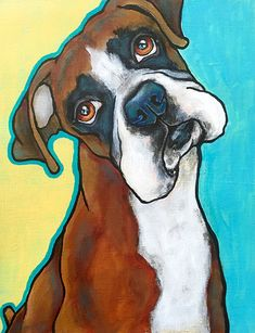 Animal Drawings Custom Pet Portraits Original Canvas Art Painted from your photographs Dog Art Pet Art - Acrylic Painting Canvas, Canvas Art Prints, Painting Prints, Arte Pop, Dog Paintings, Boxer Dogs, Dog Portraits, Dog Art, Dog Pop Art