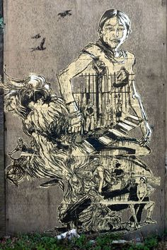 "Swoon, name Caledonia ""Callie"" Curry street art Illustration Art Nouveau, Stencils, Art Deco, Affordable Art Fair, Arte Popular, Street Art Graffiti, Urban Graffiti, Illustrations, Street Artists"