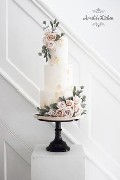 Three tiered wedding cake featuring some textural detail, sage and pink watercolour accents and muted pink sugar roses with sage green foliage Sparkly Wedding Cakes, Extravagant Wedding Cakes, Wedding Cake Fresh Flowers, Amazing Wedding Cakes, Elegant Wedding Cakes, Wedding Cake Designs, Wedding Cake Maker, 4 Tier Wedding Cake, Rustic Cake