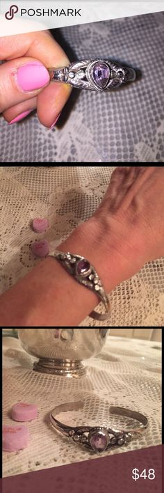 Sweetheart Amethyst & Sterling Bracelet! Romance Darling Sterling Silver & Amethyst Bracelet with Beautiful detail of vibes and flowers surrounding the stone! Accessories Jewelry