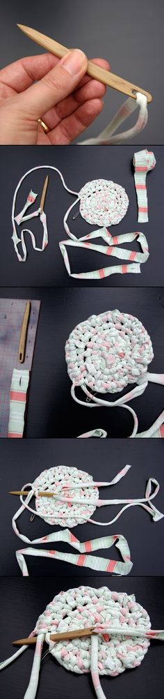 Another version and 'how to' for constructing a toothbrush rug.