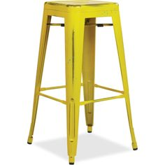 high backless yellow metal barstool with square seat