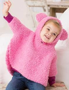 free knitting pattern for playful hooded poncho garter stitch hoodie for babies and toddlers with cute bear ears for fun sizes 6 months to 24 months designed by jodi lewanda - PIPicStats Baby Knitting Patterns, Knitting For Kids, Easy Knitting, Baby Patterns, Poncho Patterns, Knitting Projects, Crochet Patterns, Knitted Poncho, Hooded Poncho