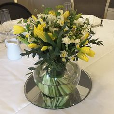 Floral #tablecentre of #spring #flowers including #Daffodils, #Narcissi and #Tulips. Daffodils, Tulips, Table Centers, Corporate Events, Centre, Seasons, Spring, Floral, Party