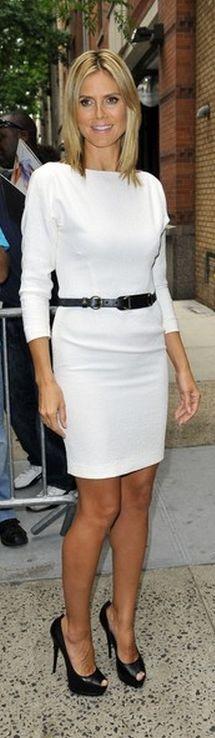 beautiful White Dress   Heidi Klum: Shoes - Giuseppe Zanotti Dress - Rachel Roy