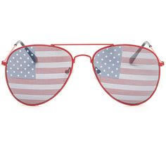 RED Red White 'N You Flag Aviator Sunglasses ($1.24) ❤ liked on Polyvore featuring accessories, eyewear, sunglasses, red, american flag lens sunglasses, metal-frame sunglasses, aviator american flag sunglasses, white sunglasses and american flag sunglasses