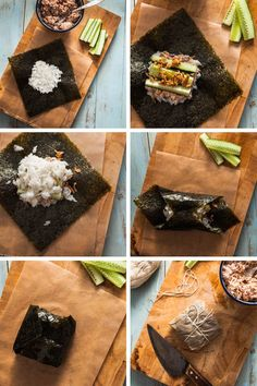 Recipe for Onigirazu, japanese rice sandwiches, with a spicy tuna mayonnaise filling and an illustrated folding instruction. Cute Food, Good Food, Yummy Food, Japanese Dishes, Japanese Food, Bento Recipes, Cooking Recipes, Sushi Sandwich, Onigirazu