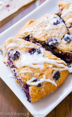 These are my favorite blueberry scones. Buttery and moist, each bite is packed with juicy blueberries and sweet vanilla glaze.