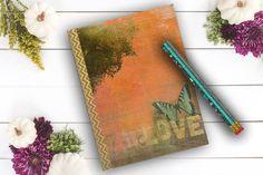 Romantic Love Diary Flower Journal custom notebook by Teakberry