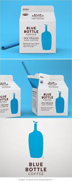 Blue bottle coffee rebranded by Pearlfisher curated by Packaging Diva PD joins the PPOTD 500 club. Milk Packaging, Beverage Packaging, Coffee Packaging, Bottle Packaging, Brand Packaging, Chocolate Packaging, Design Package, Label Design, Branding Design