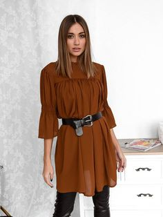 Μπλούζα Διαφάνεια Με Ζώνη Καφέ - Day Like This Days Like This, Ruffle Blouse, Long Sleeve, Sleeves, Shirts, Tops, Women, Fashion, Moda