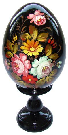 Oeuf decore peint, Oeuf en bois Collection Russe Artisanat Russe cadeau Pâques