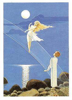 Boy Who Tried to cast pearls from the moon / Rudolf Koivu Good Night Moon, Super Moon, Blue Moon, View Image, First Night, Finland, Illustrators, Fairy Tales, Cool Photos