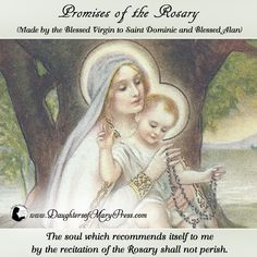 Promise of Our Lady on the Rosary. Praying The Rosary, Holy Rosary, Blessed Mother Mary, Blessed Virgin Mary, Catholic Saints, Roman Catholic, Rosary Quotes, Saint Dominic, Mary And Jesus