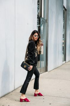 Sigerson Morrison Rhoda Suede Muele Sandal, Bomber Jacket, Leather Pants, Gucci Marmont Bag | The Girl From Panama