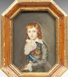 19th century hand painted watercolor miniature portrait of the ill-fated Louis Charles, Dauphin of France and only surviving son of Louis XVI and Marie Antoinette