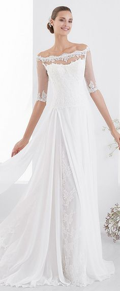 Amazing Lace & Chiffon Off-the-shoulder Neckline A-line Wedding Dress With Lace Appliques & Beadings