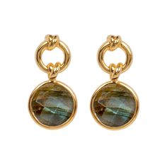 Knot Drop Earrings with Labradorite | 18ct Gold Vermeil | Davina Combe