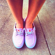 pink striped polo shoes.<3
