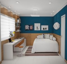 Most Stylish Bedroom Color Combination Ideas to Steal Check out tons of inspiring bedroom color combination ideas which look uniquely attractive! Pick the best one and colorize your bedroom now! Small Rooms, Small Apartments, Small Spaces, Home Bedroom, Bedroom Decor, Extra Bedroom, Bedroom Small, Bedroom Ideas, Master Bedroom