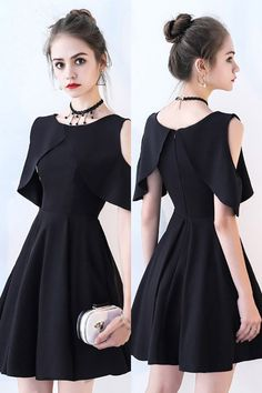 Little Black Chic Cold Shoulder Homecoming Dress with Sleeves,Short Prom Dress G.Little Black Chic Cold Shoulder Homecoming Dress with Sleeves,Short Prom Dress G.Home Wall Ideas Cheap Dresses, Sexy Dresses, Fashion Dresses, Short Dresses With Sleeves, Sleeves Designs For Dresses, Black Dress With Sleeves, Short Sleeves, Cute Homecoming Dresses, Prom Dresses