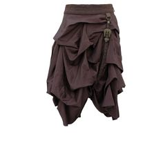 Due to it being heavily gathered, this brown steampunk skirt has a length of just 26 inches which means it is perfect to be worn with a pair of stockings and high boots. The ruched, gathered nature of the skirt simply adds volume which is the perfect accompaniment to a steel boned corset which will create curves where you want them the most. A masterpiece of neo-Victorian fashion design, this skirt can be worn with items already in your closet, or if you're feeling adventurous and in a ...