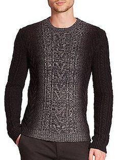 Vince Marled Dégradé Cable-Knit Sweater - Black-