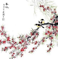 Chinese Peach Blossom Painting 2428001, 66cm x 66cm(26〃 x 26