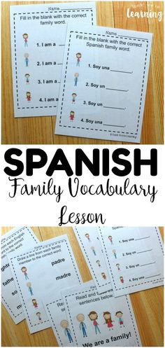 Teach kids how to talk about family in Spanish with this set of printable Spanish family members worksheets! Great for ESL students too! #lookwelearn #spanish #esl #learning #education