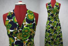 Kitsch 1960s/70s Floral Print Halter Neck by PatternVintageLondon
