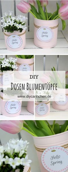 DIY recycling craft idea: flowerpot from a tin . - DIY recycling craft idea: flowerpot from a tin …- DIY Recycling Bastelidee: Blumentopf aus einer - Recycled Decor, Recycled Crafts, Diy And Crafts, Simple Crafts, Felt Crafts, Pot Mason Diy, Mason Jar Crafts, Mason Jars, Recycler Diy