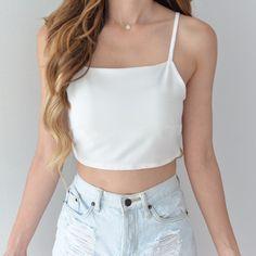 Evelyn Ribbon Crop Top - White
