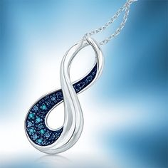 Enhanced Blue Diamond Accent Infinity Loop Pendant