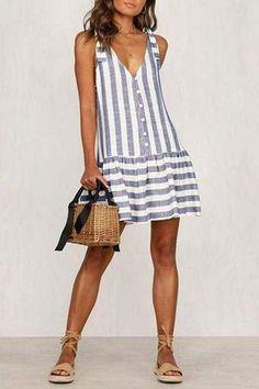 Commuting V Neck Stripe Off-Shoulder Single-Breasted Dress – modevova mini fashion,pretty dresses,dresses women,dresses fashion Casual Dresses, Casual Outfits, Fashion Dresses, Summer Dresses, Emo Fashion, Dresses Dresses, Mini Dresses, Ball Dresses, Gothic Fashion