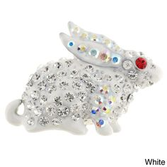 Goldtone Pink Red and White Crystal Rabbit Brooch
