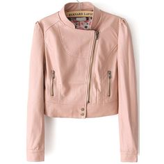 SheIn(sheinside) Pink Stand Collar Crop PU Jacket (745 UYU) ❤ liked on Polyvore featuring outerwear, jackets, tops, coats, pink, zip jacket, stand collar jacket, collar jacket, polyurethane jacket and biker style jacket