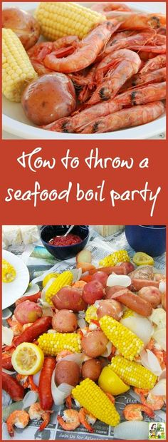 Want to throw a crawfish boil this summer? Here are some tips on how to throw a seafood boil party, whether you love lobster, shrimp, crab or want to do a traditional Louisiana low country crawfish boil. Includes tips on equipment you'll need as well as a Cajun Seafood Boil, Seafood Broil, Seafood Boil Recipes, Seafood Appetizers, Shrimp Recipes, Seafood Bake, Crab Broil, Crawfish Recipes, Fresh Seafood