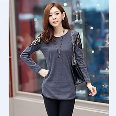 Women's Lace Inset Long Sleeve T-Shirt – USD $ 13.99