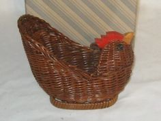 Avon Wicker Menagerie Hen Basket With The Original Box