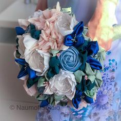 A classic dusty blue bridal bouquet made of premium fabrics and accessorized with rhinestone and pearl brooches Bridal Bouquet Blue, Crystal Bouquet, Blue Bridal, Wedding Bouquets, Wedding Flowers, Fabric Bouquet, Fabric Flowers, Dream Wedding, Wedding Day