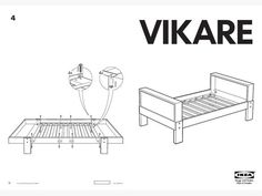 Ikea Vikare Convertible Toddler to twin bed frame