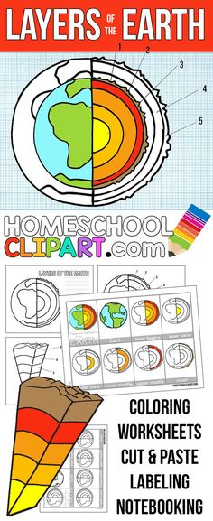 Free Layers of the Earth Printables!  Notebooking Pages, Science Journal, Nomenclature Cards, Labeling Worksheet, Charts, & Coloring Pages.  Even the clipart to make your own resources, free at HomeschoolClipart...